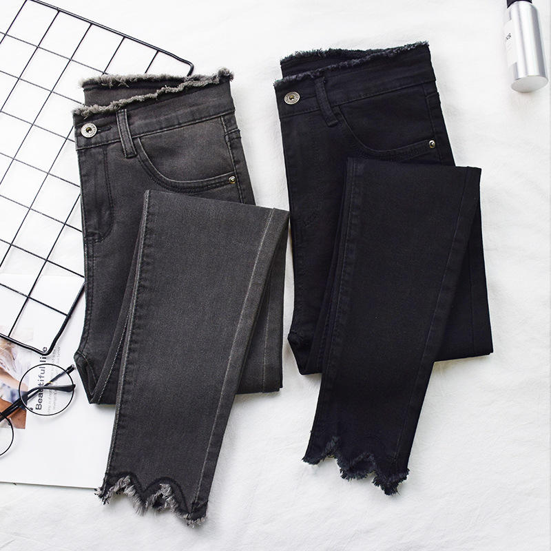 2019 nuevo estilo azul negro gris denim ladies pencil pants women pencil jeans