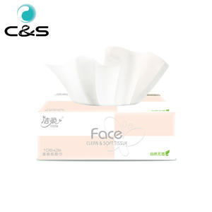 C&S Biodegradable Face Pink Natural Fragance Free 106 Sheets Box Wettable Facial Tissue