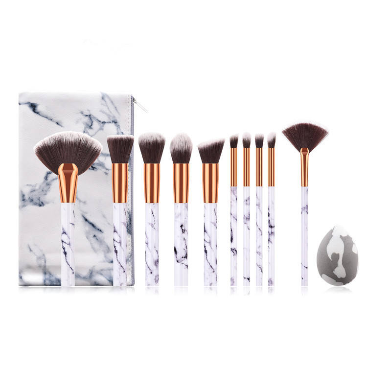 Wholesale make up tools 10pcs marble makeup brush set with bag
