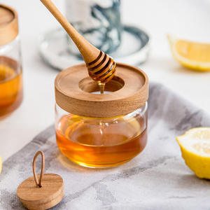 350ml 500ml Clear Glass Honey Jar with Wooden Dipper and Wooden Lid for Storing Honey Jam Syrup