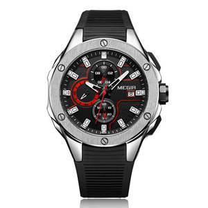 MEGIR 2053 Men Quartz Watch Can Custom Watch Automatic Wrist For Silicone Watch