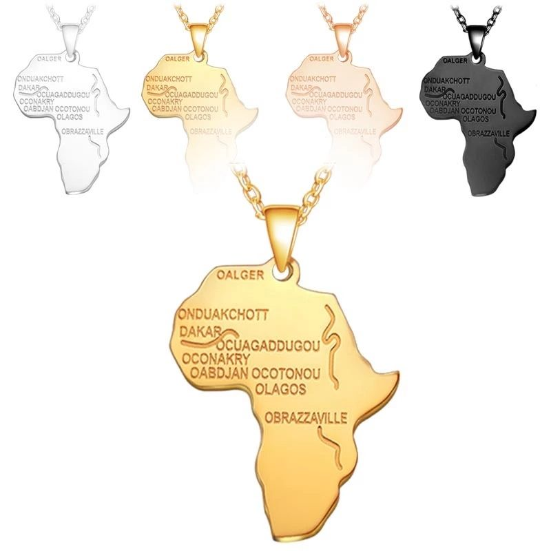Hot Sale Modern 4 colors custom logo pendant african map necklace jewelry
