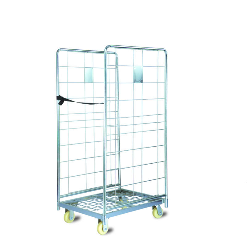 Industrial 3 Sides Foldable Laundry Logistic Roll Cage Pallet
