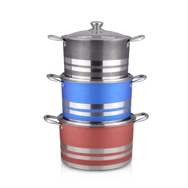 Factory Price Commercial Soup Stock Pots 6 Piece Cookware Set Stainless Steel with Glass Lids