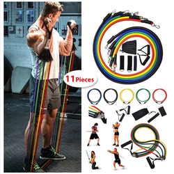11 pcs/set Latex Resistance Bands training body exercise yoga tubes pull rope chest expander pilates fitness with bag