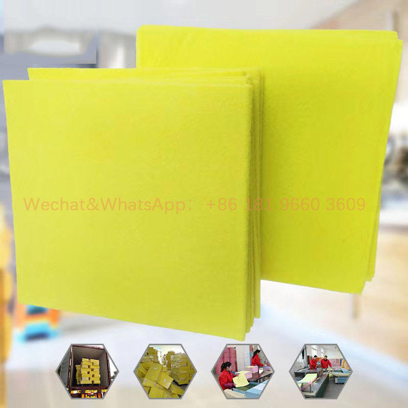 Yellow Super Absorbing Microfiber Non woven Cleaning Wipes Cloth For Kitchen