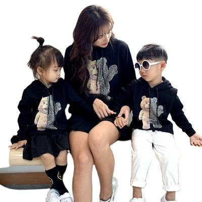 1IHJ777 matching family clothes 2020 autumn new mother and son bear hooded sweater Kids Clothing