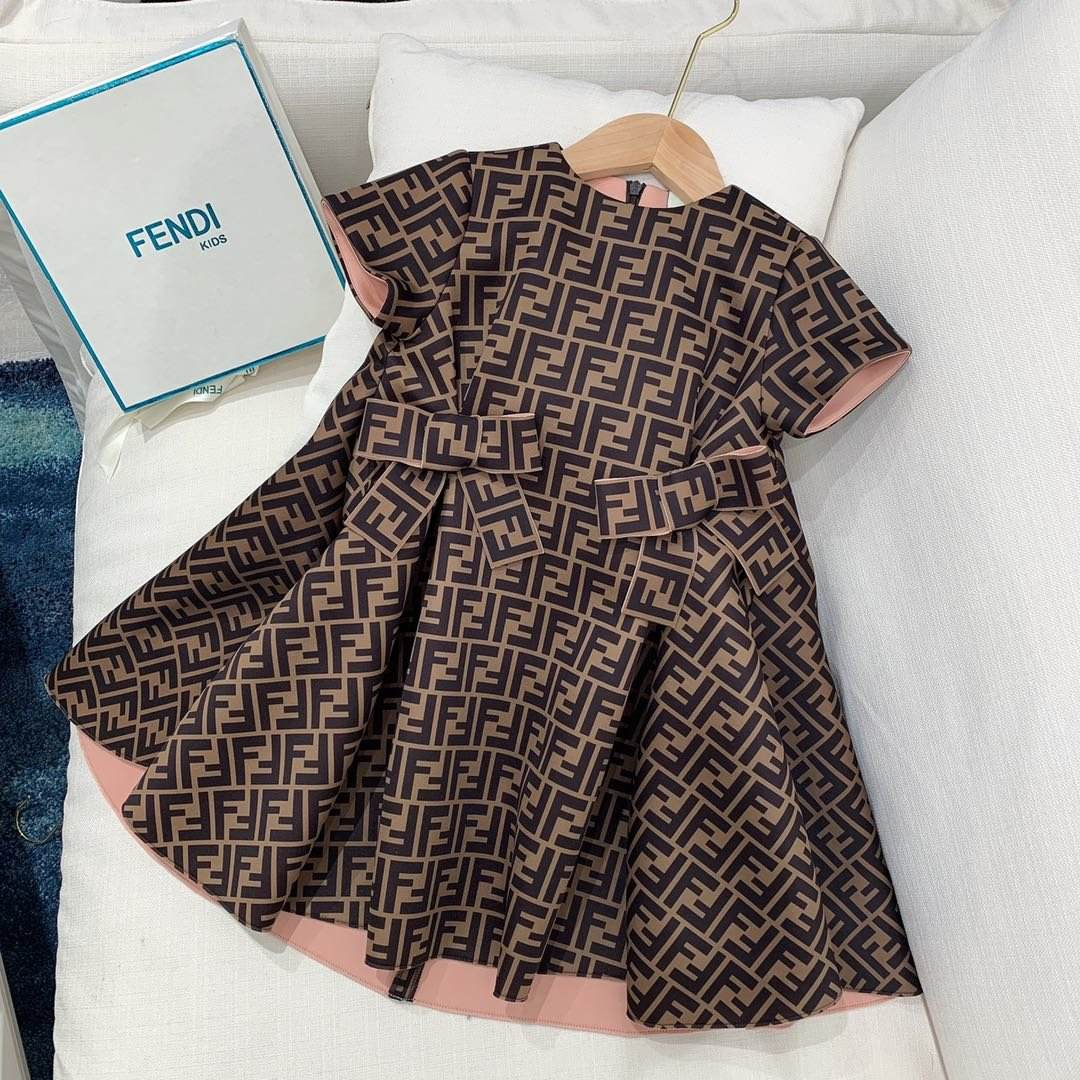 Summer Boutique Girls Clothing Wholesale Party Dress Girls Printed Short Sleeved Baby Girl Cotton Dresses