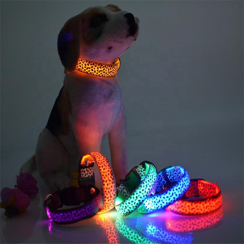 2019 hotsale Leopard print LED dog collar