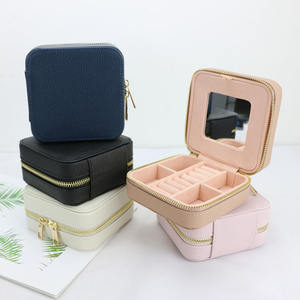 Small multi-function leather jewelry organizer box travel jewelry case with mirror