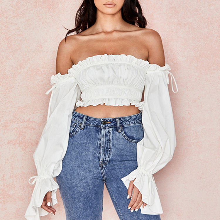 Ruffle Off Shoulder Strapless Rits <span class=keywords><strong>Ruches</strong></span> Vrouwen Blouse Lange Mouwen Top Vrouw Overhemd Top Blouse 2020 Vrouwen Blouses <span class=keywords><strong>Tops</strong></span>