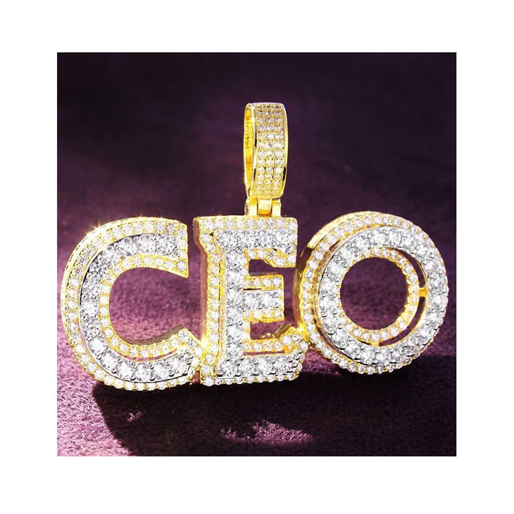 wholesale custom hip hop new design Moissanite cz silver gold plated double layer CEO pendant