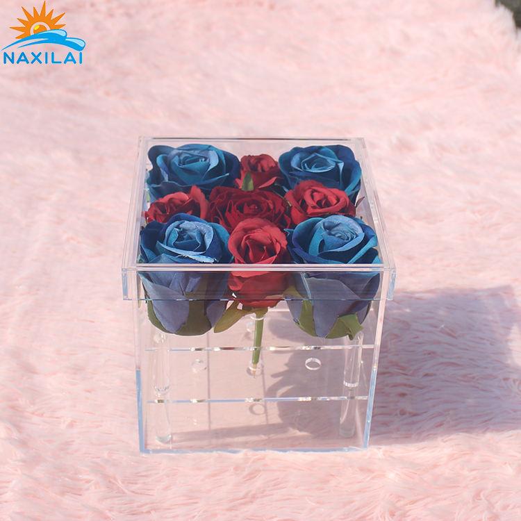 NAXILAI Flor de acrílico caja de 9 agujero caliente venta acrílico Rosa caja de regalo de San Valentín