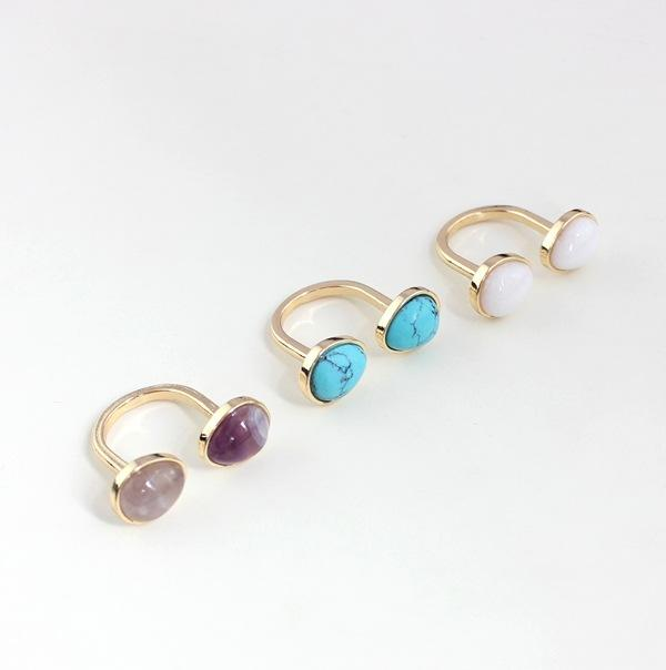 Fashion Vintage Inlay Colorful Semicircle Natural Stone Rings Gold Plated Natural Opal Amethyst Rings for Women