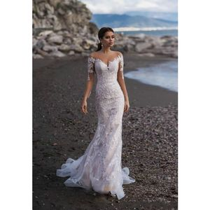 Illusion Long Sleeves Lace Wedding Dress Mermaid Covered Button Back Bridal Wedding Gowns Beach Wedding