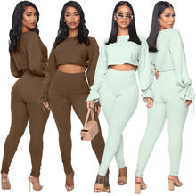 2020 Fall Trendy 2 Piece Crop Top Flared Sleeves Cuff Two Pieces Pant Sets Women Jogger Sweatsuit Set