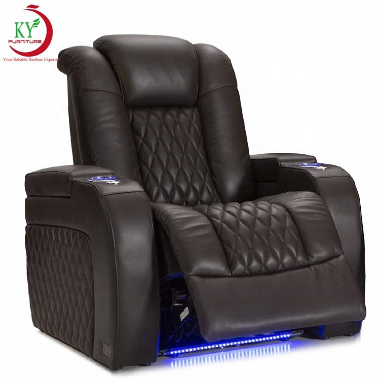 JKY Furniture Best Customized Home Theater Electric Recliner Chair With Power Headrest Adjust LED Light Usb for Living Room