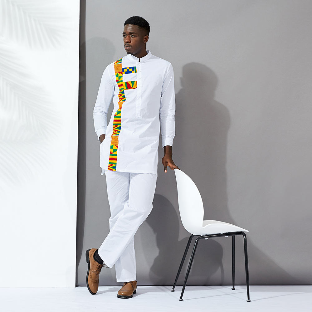 Shenbolen Unique design Men Handsome White Shirt Kent style African Printed Shirts