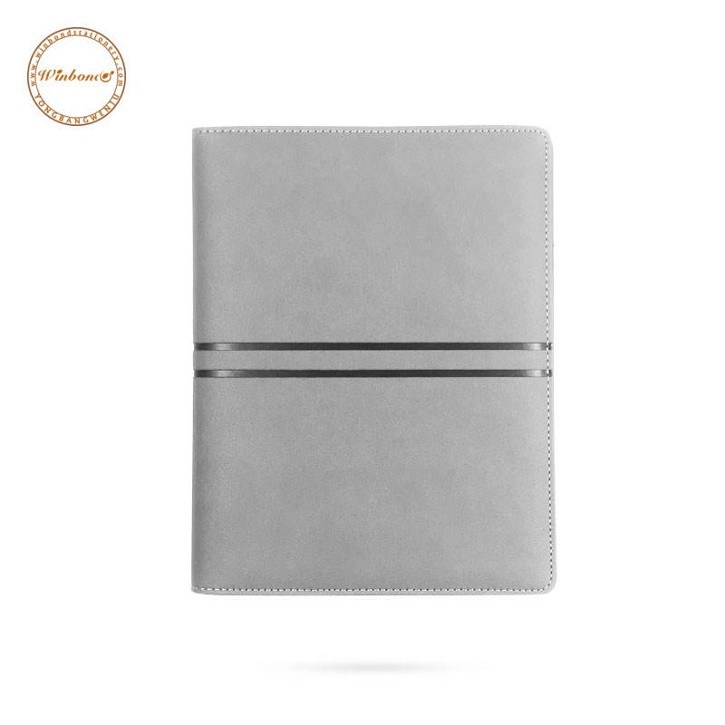 Solid color ring binder a5 leather magnetic closure planner notebook