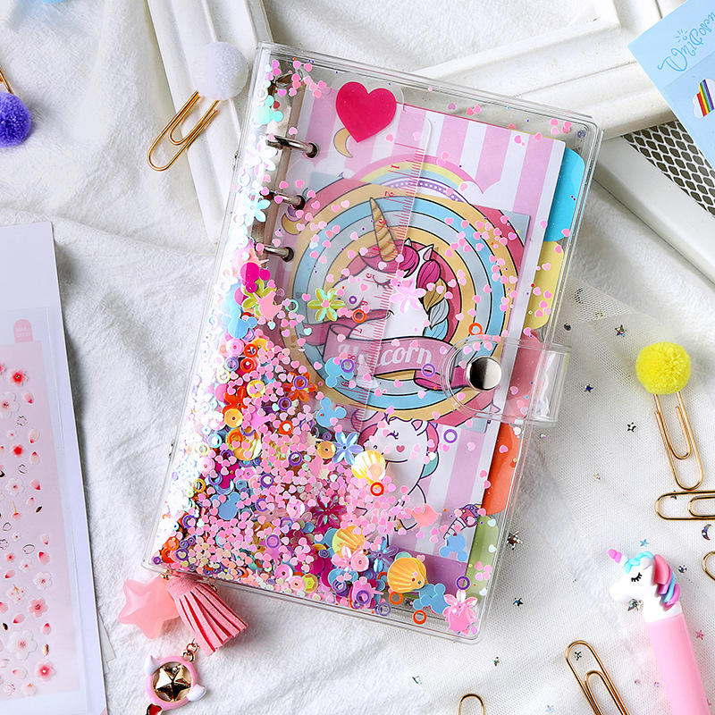 A5 A6 Cute kawaii sequins PVC 6 rings binder spiral refillable diary journal notebooks stationery supplies