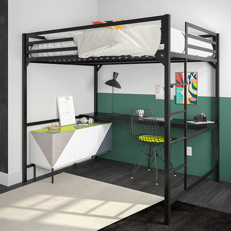 Bunk Bed White Comfortable Full Size White Black Adult Loft Bunk Bed With Study Table 1 Set