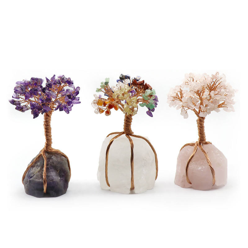 Natural crystal raw ore copper wire gravel life tree Wealth and fortune money tree ,fortune tree lucky crystal for Decoration