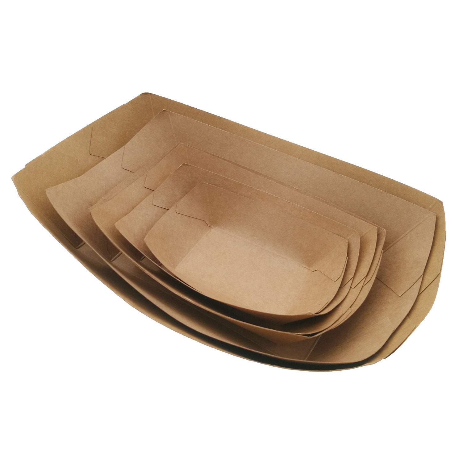 Kraft Boat Tray disposable custom printed paper food tray