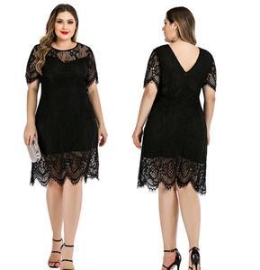 Schwarz Spitze Rundhals Mini Kleid Frauen XXXXL plus größe kleider für frauen