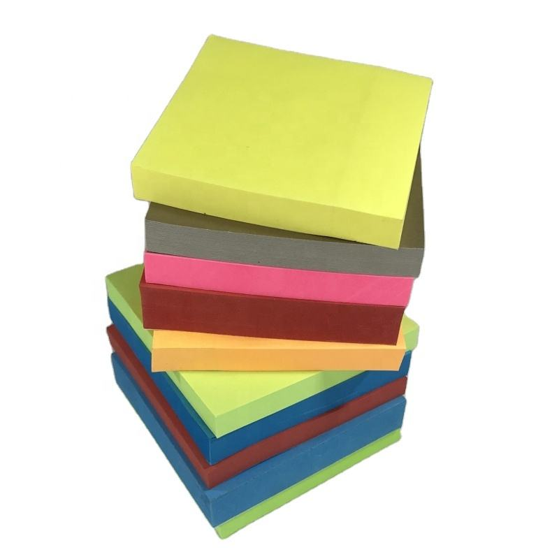 Custom Printed Logo Paper Square Solid Color 7.5cm Self-adhesive Home School Office It Post Note Sticky Notes