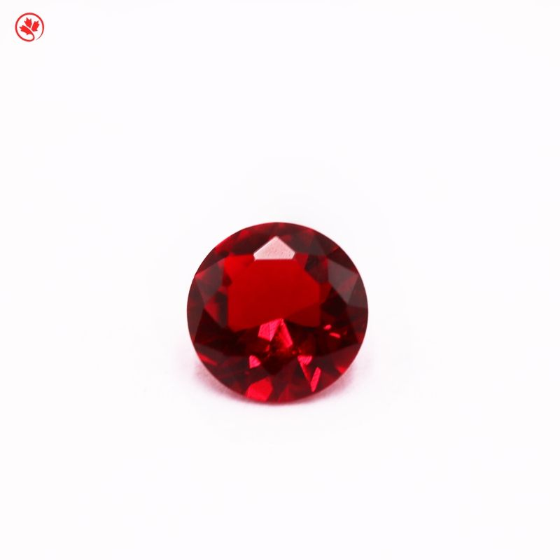 Wuzhou gemstone sales round shape red 5.0-12mm glass synthetic stones