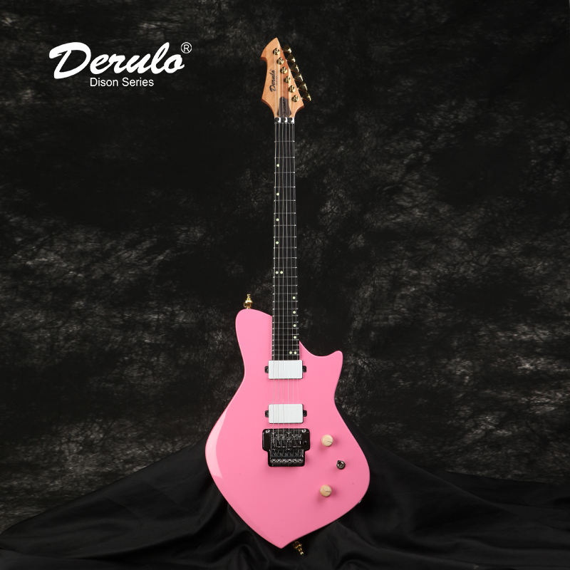 Derulo Electric Guitar OEM 6Strings HighQuality Electric Guitar PINK Mahogany Body 5Pieces Maple&Mahogany Neck Customshop