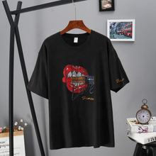 Wholesale Short Sleeve T-Shirt Women Summer Hot Drilling Tops Tees Black Cotton T Shirts Kiss Pattern T Shirt Print tee shirt