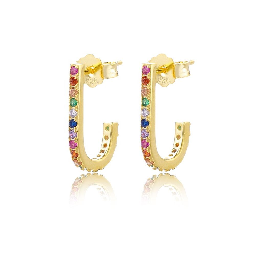 Slovehoony 18K Gold Plated Rainbow Stone Huggie Earrings、Huggie Gold Plated Ear RingsためWoman
