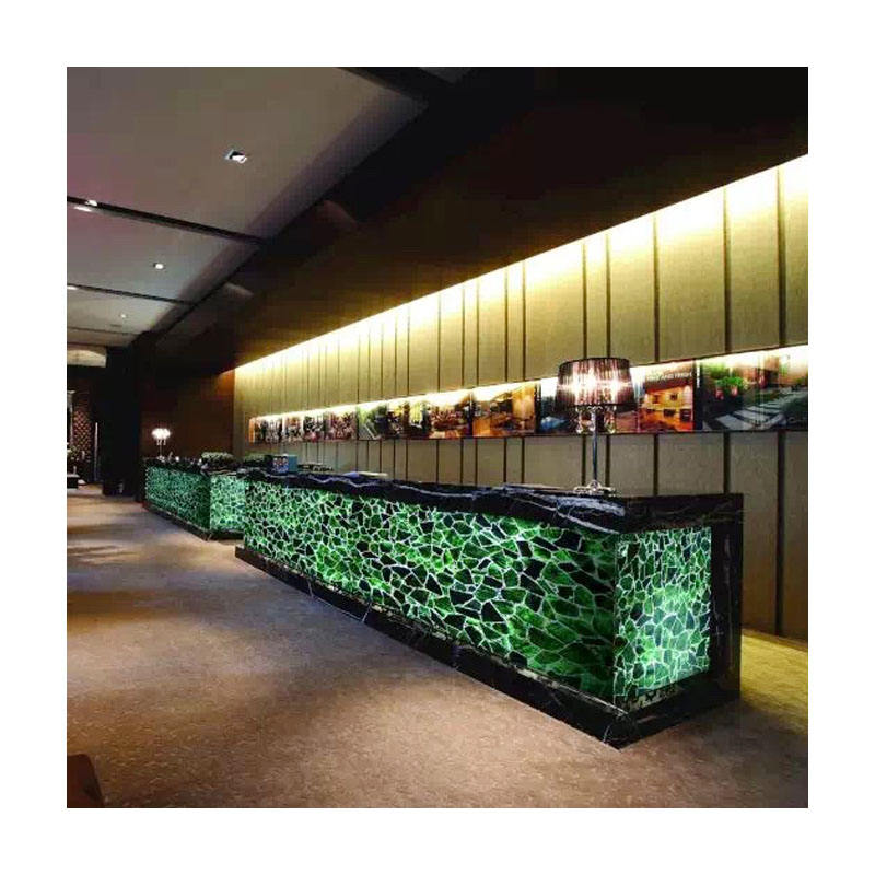 Red emerald green marble tile with backlit effect