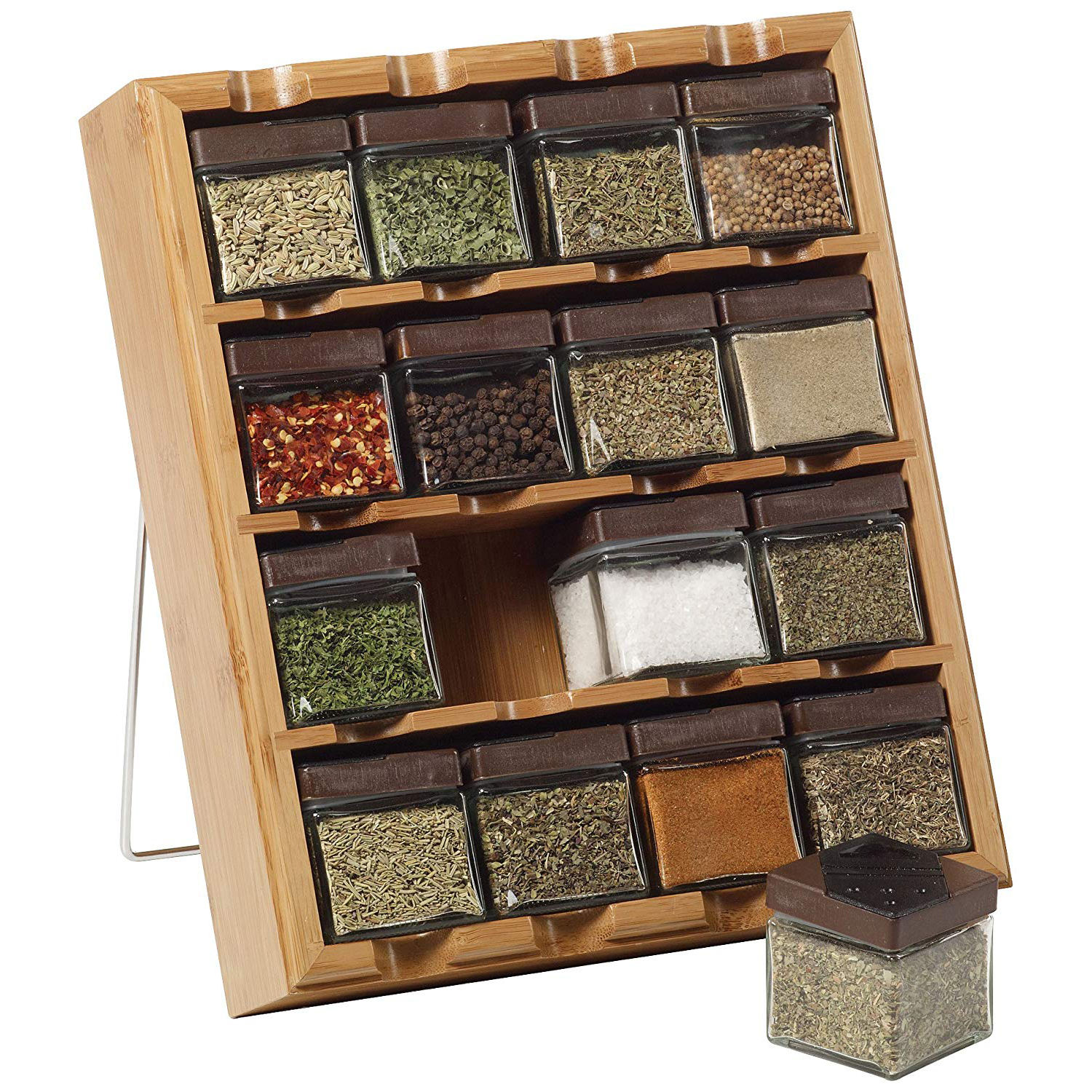 2020 Hot Selling Kitchen 16 Cube Spice Rack 4 Tier Herb And Spice Shelf Bamboo Mounted Spice storage holders