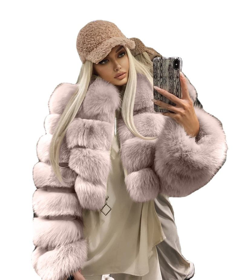 Short Cropped Winter Faux Fur Coat Jacket Women Faux Fox Fur Coat Hooded Women Fake Fur Coat For Lady