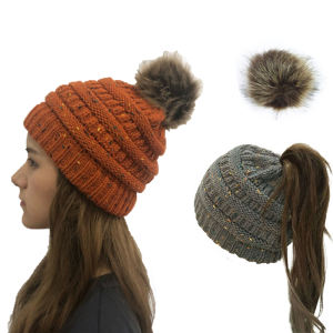 Women Knit Slouchy Ponytail Beanie Chunky Baggy Hat with Faux Fur Pompom Winter Hat