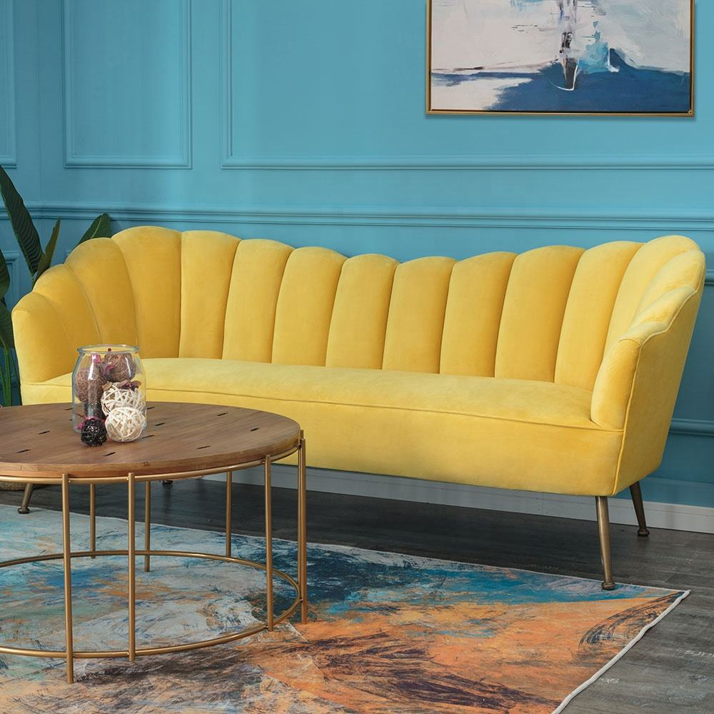Modern Yellow Velvet fabric Living room loveseat couch sofa set couch chaise lounge with metal legs