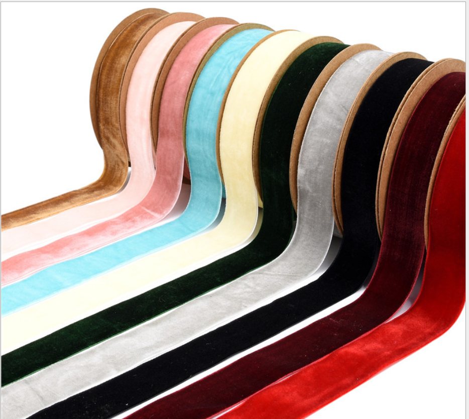10 Colors for your choose 2.5 cm 1 inch Single Face Custom Luxury Vintage velvet ribbon 10m per roll