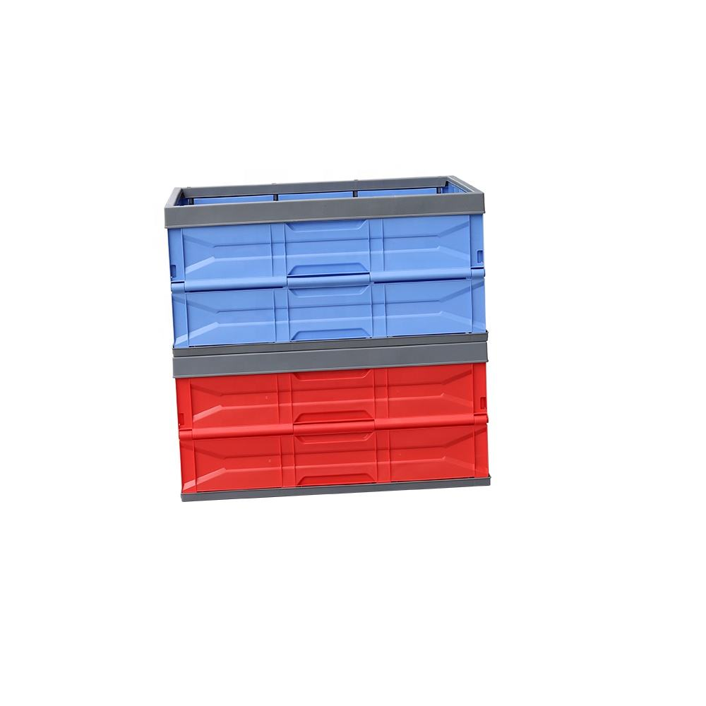 Plastic Turnover stackable folding Box for covers Transportation vegetables Storage vented Home and car trunk storage