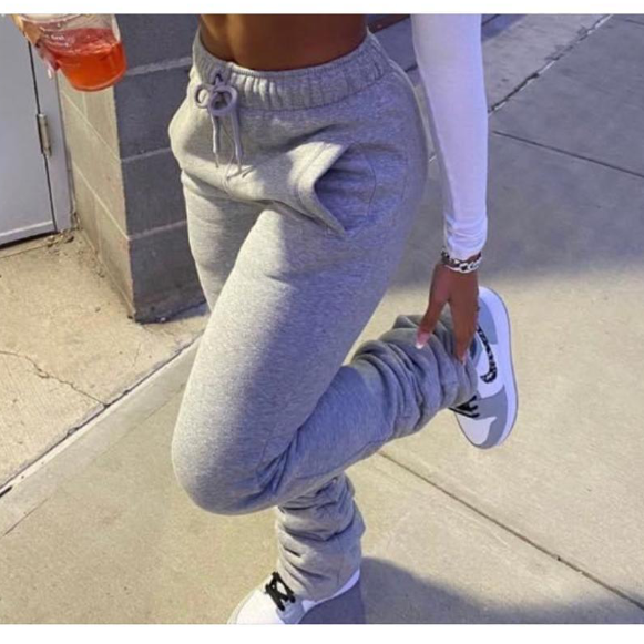 A20372P Best selling quality 9 colors winter jogger pants women fashionable stacked pants fall sweat stacked leggings for women
