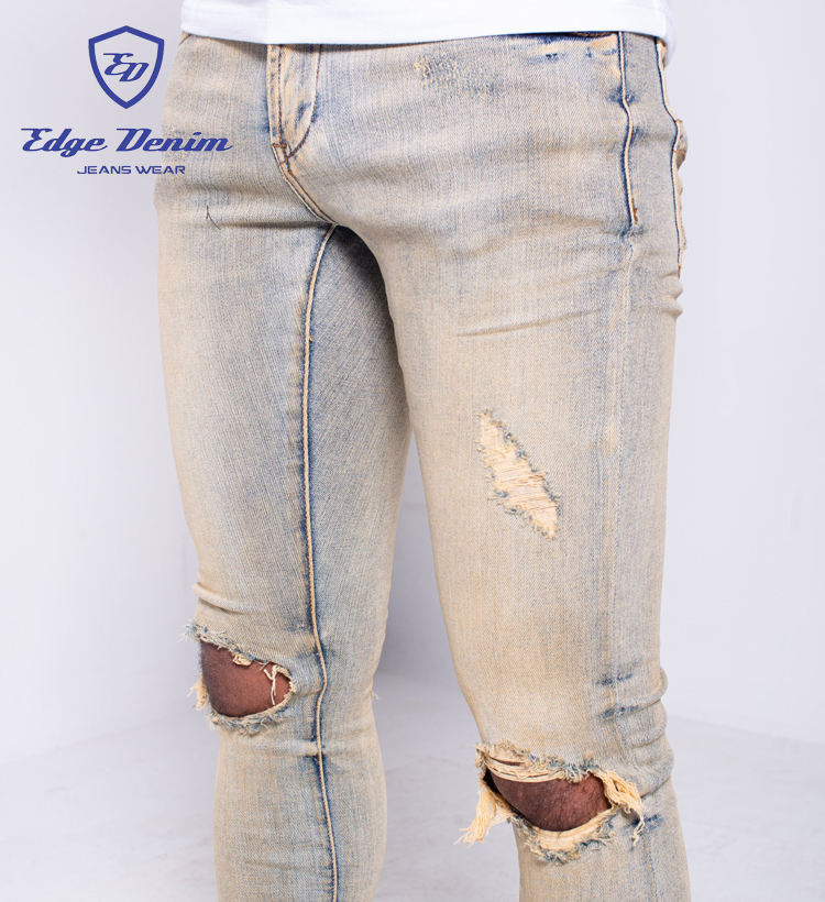 Edge Denim China Factory Custom Men Jeans Trousers Ripped Skinny Distressed Jeans Vintage Dust Two Hole Denim Jeans For Men