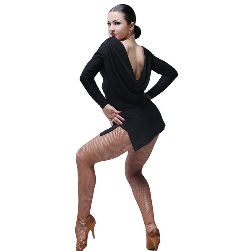 Black Latin Dance Dress Women Dancewear Dress Latina Salsa Dress Modern Dance Costumes