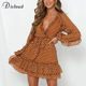 DICLOUD Polka Dot Chiffon Dress Brown Women Sexy V Neck Ruffle Mini Party Dress Long Sleeved Autumn Spring Clothes Female