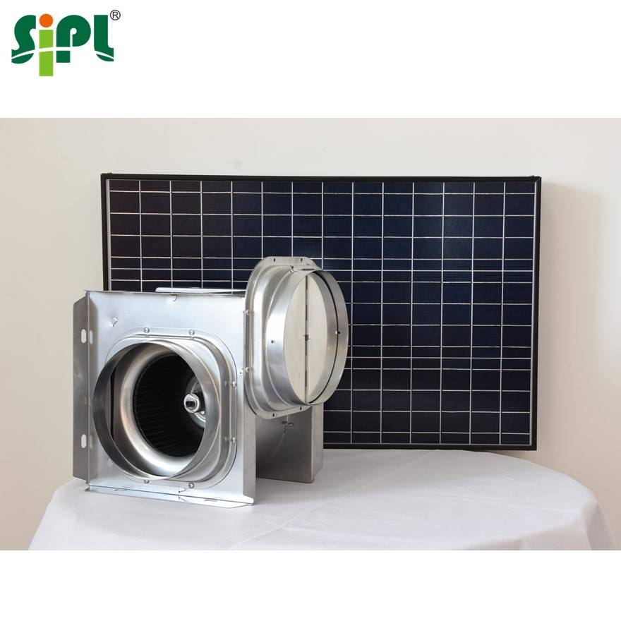 Sunny Ventilation Fan Centrifugal 8' Solar Panel Power Double Air Inlet Heat Extractor Warehouse Industrial Roof Wall Fan Blower