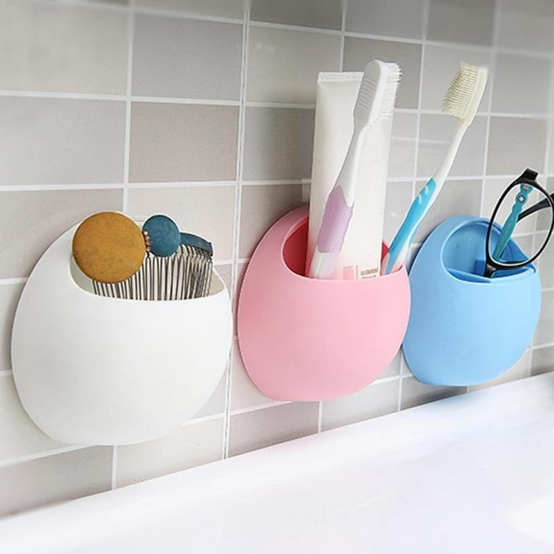 New Cute Toothbrush Sucker Holder Wall Mount Holder Hooks Cup Organizer Bathroom Organizer Family Tools Accessories