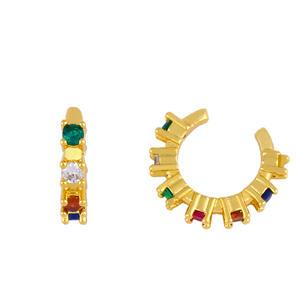 Fashion Simple Design Rainbow Zircon for Women Earrings Personality Girl Ear Bone Clip Party Gold Accessories Ear Clip