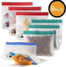 ECO-FRIENDLY Extra thick Reusable sandwich bags [8 pack] Reusable snack bags for kids Freezer safe reusable ziplock bags