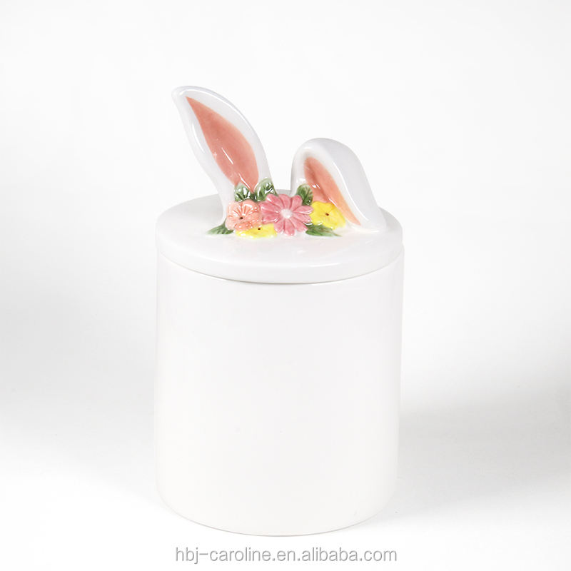 Ceramic Jar Storage Wholesale Ceramic Canister Candy Jar Easter Bunny Pink Ear Lid Storage