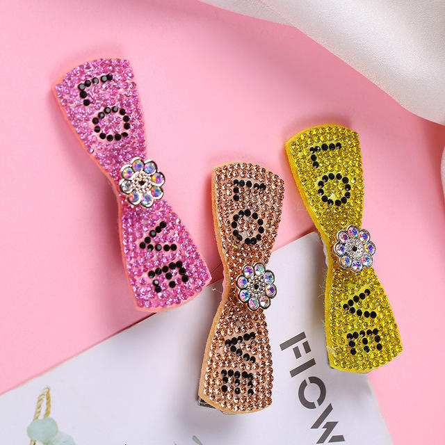 Ins fancy hot full crystal rhinestone korean hair clip,colorful hair clip pearl diamond hairpins for girls